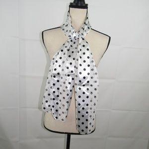 "Scarf White and Black Polka Dot Shiny 60 x 13"""